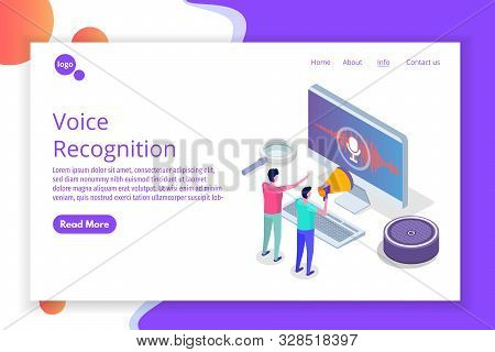 Voice Messages, Voice Recognition Isometric Concept With Character. Can Use For Web Banner, Landing
