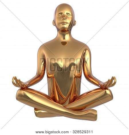 Gold Statue Man Yoga Lotus Position Stylized Iron Figure. Human Mental Recreation Person Metallic. P