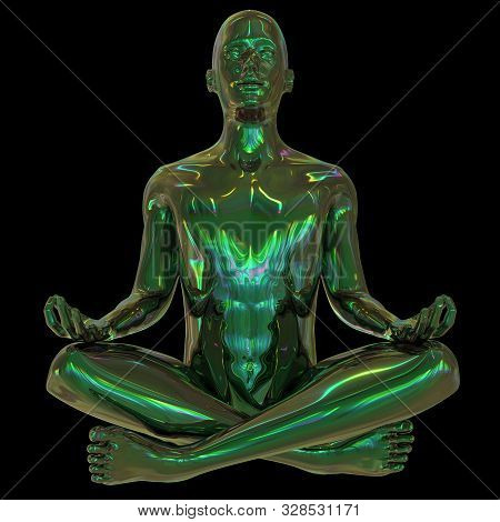 Metallic Human Mental Guru Zen Character Green. Figure Stylized Man Lotus Pose Black Polished Colorf
