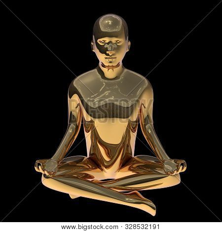 Lotus Pose Golden Yoga Man Stylized Figure Polished Solid. Human Mental Guru Zen Character Gold Stat
