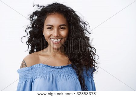 Beauty, Romance And Women Concept. Attractive Charming Smiling African-american Curly-haired Female