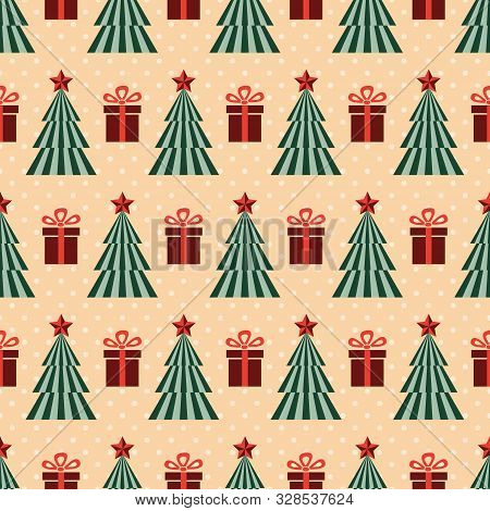Vintage Christmas Trees And Presents. Seamless Vector Illustration With Abstract Christmas Trees And