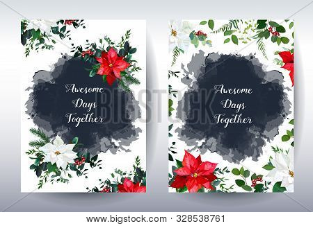 Christmas Red And White Poinsettia, Emerald Greenery, Berry And Watercolor Navy Splash Vector Design