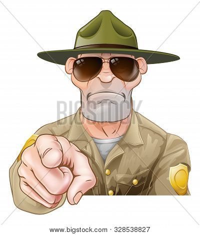 A Serious Looking Cartoon Park Ranger Or Forest Ranger Pointing