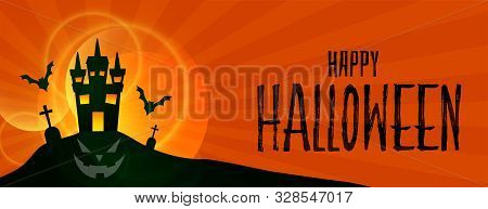 Happy Halloween Scary Hounted House Background Design