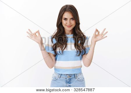 Ambitious Determined Relaxed Pretty Girl Show Okay Zen Gesture, Standing Meditation Nirvana Pose, Sm