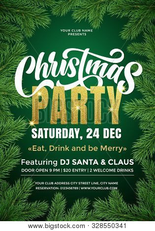 Christmas Party Banner Template With Text And Fir Tree Branches Border. 24 December Music Party Cele