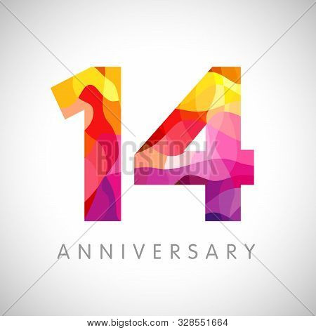 14 Th Anniversary Numbers. 14 Years Old Multicolored Logotype. Age Congrats, Congratulation Art Idea