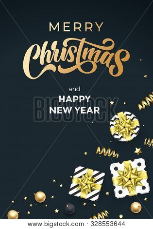 Merry Christmas And Happy New Year Greeting Card Vector Background Template Of Golden Calligraphy Te