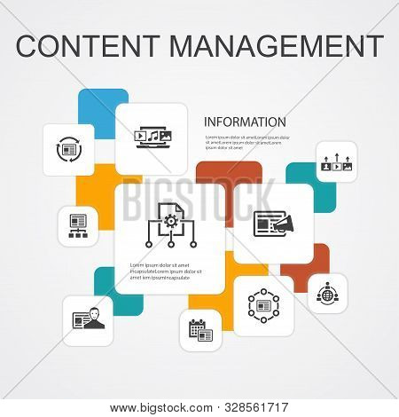 Content Management Infographic 10 Line Icons Template. Cms, Content Marketing, Outsourcing, Digital