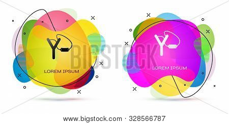 Color Slingshot Icon Isolated On White Background. Abstract Banner With Liquid Shapes. Vector Illust