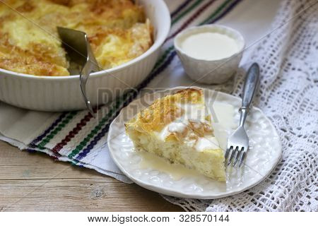 Banitsa, A Traditional Bulgarian Or Balkan Filo Pastry Pie Stuffed With Feta Cheese, Sour Milk And E