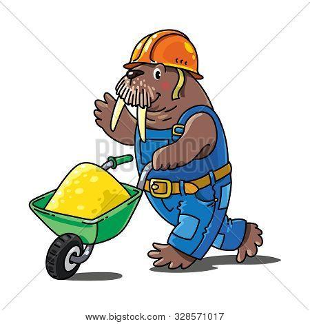 Walrus Worker. Alphabet W. Profession Abc For Kids