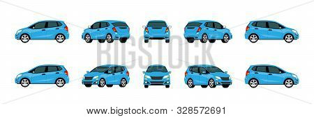 Blue Modern Eco Car Vector Mock-up Template For Car Branding On White Background. Elements Of Corpor