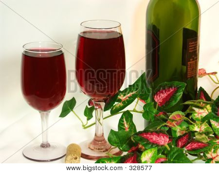 Pair Of Wine Glasses On White Background.