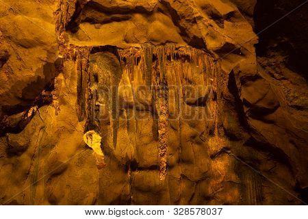 Phetchaburi,thailand-august 12,2019 : Beautiful Cave With Stalagmites And Stalactites And Tourists,