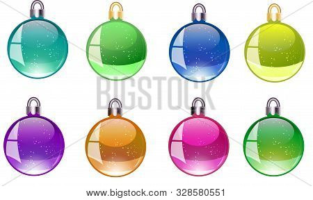 Colorful Christmas Balls Vector Icons Set Collection Bundle. Set Christmas Decorations. Vector New Y