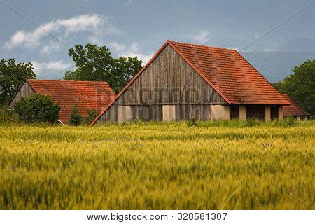 Fields And  Traditional Barns In Turiec Region, Central Slovakia.