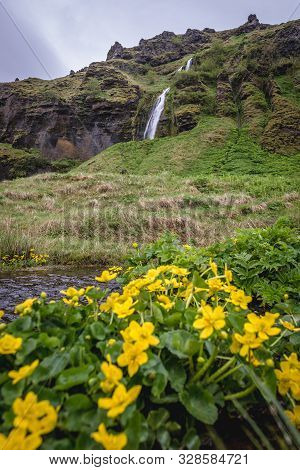 View On The Fosstunsfoss Waterfall Next To Famous Seljalandsfoss Waterfall In Iceland