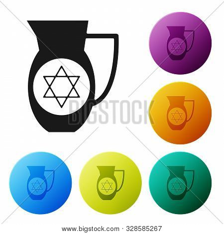 Black Decanter With Star Of David Icon Isolated On White Background. Pottery Jug. Organic Product In