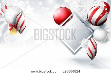Red And White Christmas Balls With Ornaments Snowflakes, Gold Bell And Geometric On Bokeh Background