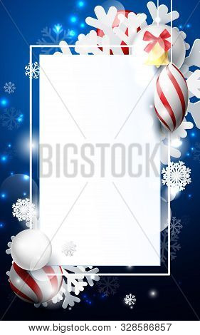 Red And White Christmas Balls With Ornaments Snowflakes, Gold Bell And Geometric On Dark Blue Backgr