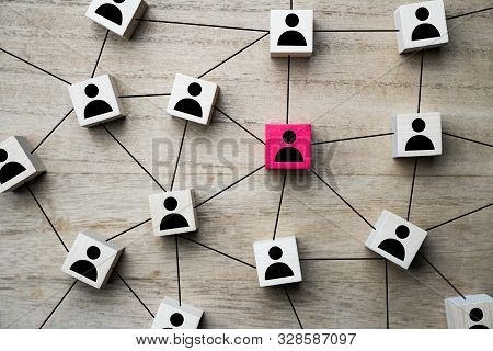 Social Media, People Or Marketing Networking Concept Using Square Wood Blocks With People Icon