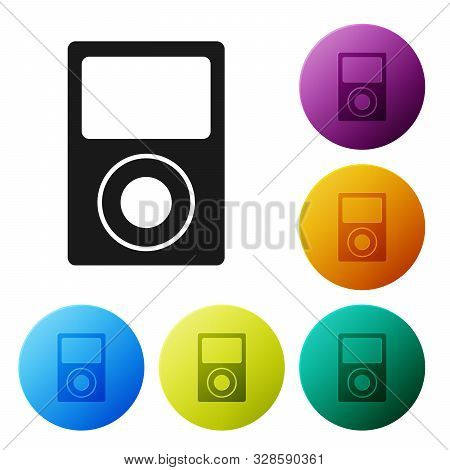 Black Music Player Icon Isolated On White Background. Portable Music Device. Set Icons Colorful Circ