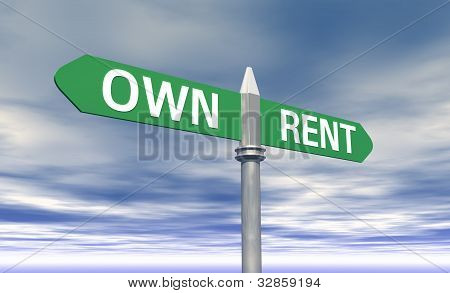 Own or Rent concept sign