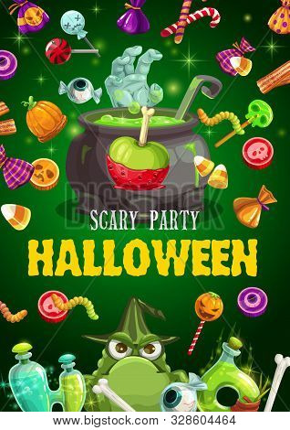 Halloween Trick Or Treat Candies Vector Design Of Horror Night Party Invitation. Pumpkin, Skull And