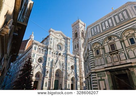 View Of Florence Cathedral With Giotto Bell Tower, Italy. Italian Landmark