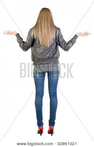 Back view of shocked  woman in gray jacket. upset young blonde girl. Rear view people collection.  backside view of person.  Isolated over white background.
