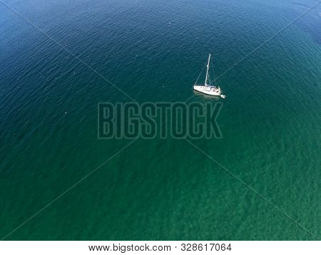 Aerial View Of Boat In Inisheer Island