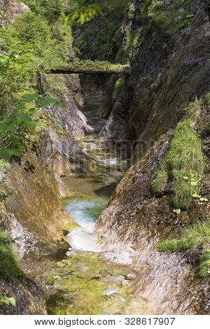 Narrow Mountain Canyon With River. Gorge Juráňová Valley ( Juranova Dolina ) - Educational Trail. Or