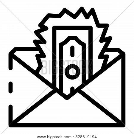 Loss Money Envelope Icon. Outline Loss Money Envelope Vector Icon For Web Design Isolated On White B
