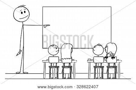 Vector Cartoon Stick Figure Drawing Conceptual Illustration Of Teacher In Classroom With Marker In H