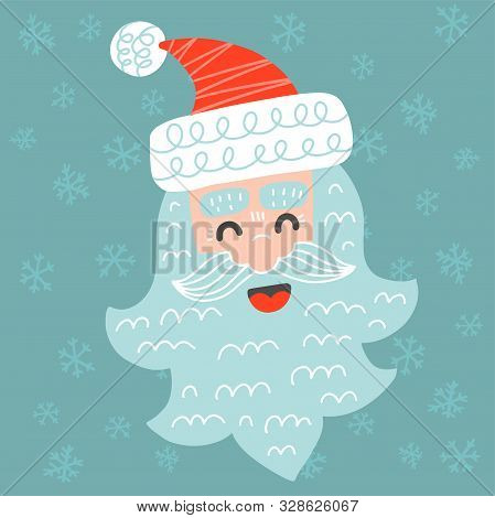 Cute Merry Christmas Greeting Card With Santa Claus In Childish Scandinavian Style Vector Illustrati