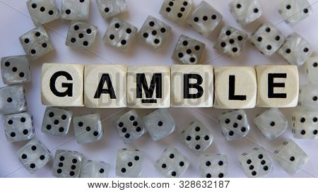 Gambling Signage With Dice In A Gambling Den.