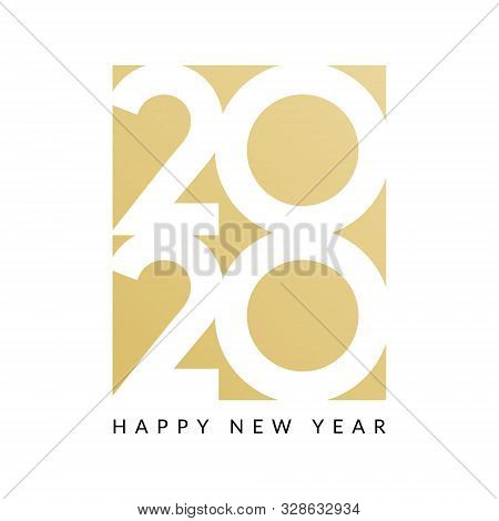 2020 New Year Design Happy Vector Logo Calendar. 2020 Typography Card
