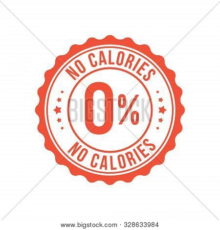 Zero Calorie Low Sugar Icon. Zero Percent Calorie Stamp Diet Symbol