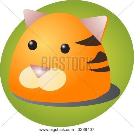 Cartoon head of a tiger cute animal illustration poster