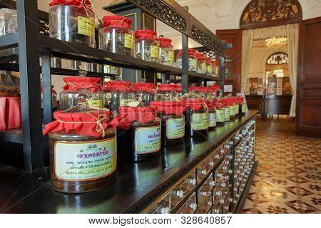 Prachinburi, Thailand - August 26, 2019: A Lot Of Thai Herbs In Poe Ngoen Dispensary, Chaophraya Abh