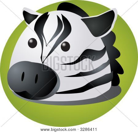 Cartoon head of a zebra cute animal illustration poster