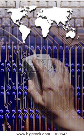 Photo Of Computer Circuit Board, Hand, Mouse And The World