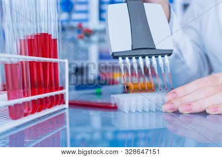 Multichannel pipette in the laboratory