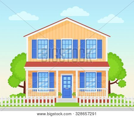 House Exterior. Vector. Home Facade Porch. Front View Townhouse Building. Modern Cottage With Roof Y