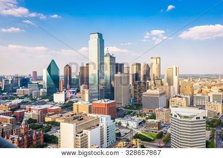 Dallas, Texas, USA downtown city skyline in the afternoon.