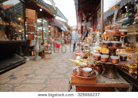 Kazandziluk Street, Located In Bascarsija District, The Famous Coppersmith Trading Place In Sarajevo