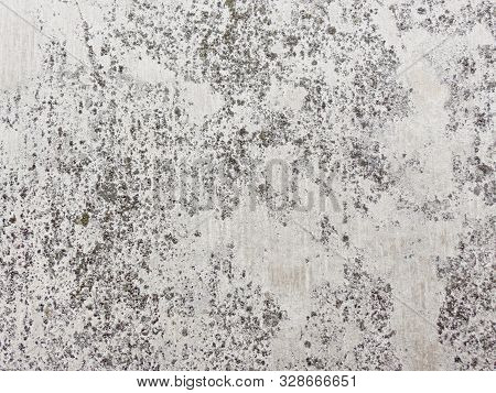 Gray Stone Gorizontal Wall Background Or Web Banner. Distressed Old Concrete Wall Vintage Color.