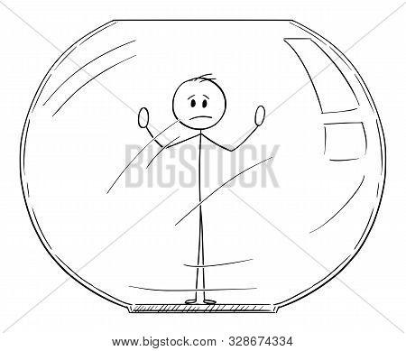 Vector Cartoon Stick Figure Drawing Conceptual Illustration Of Man Or Businessman Trapped Inside Aqu